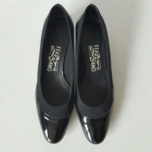 Salvatore Ferragamo black patent leather shoes